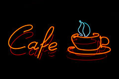 Neon cafe sign Stock Photo