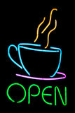 Neon cafe sign. Neon sign shaped like coffee cup Royalty Free Stock Photos