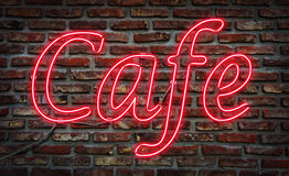 Neon Cafe  sign. Royalty Free Stock Images