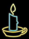 Neon candle. Rendering of a candle as a neon sign Royalty Free Stock Photography