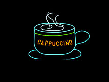 Neon Cappuccino Cup Sign Royalty Free Stock Image