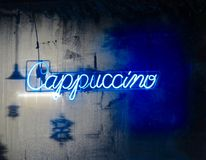 Neon Cappuccino Sign Royalty Free Stock Photography