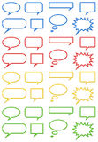 Neon Cartoon Bubbles Collection. Neon cartoon bubbles in eight different shapes in blue, red, yellow and green royalty free illustration