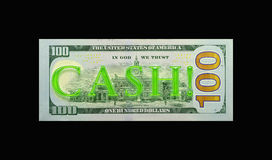 Neon CASH! on $100 bill. The word CASH! in neon green on the backside of the new $100 bill. Background is solid black Royalty Free Stock Photography