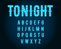 Neon Casino or Broadway Signs style light bulb Alphabet in Vecto Royalty Free Stock Image
