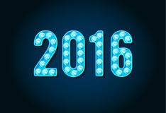 2016 Neon Casino or Broadway Signs style light bulb Digits. Or Numbers in Vector Stock Illustration