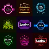 Neon Casino Emblems Stock Photos