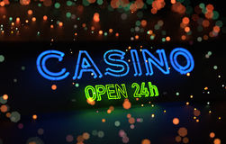 Neon Casino Open 24h Sign Stock Image