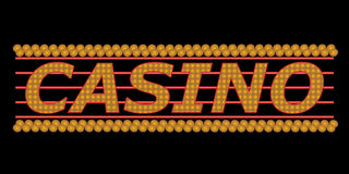 Neon casino sign. Casino sign with gold neon lights Royalty Free Stock Photo