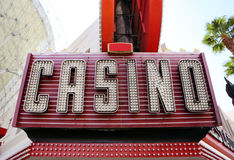 Neon Casino Sign. Colorful neon and lights advertising a casino. Shot on history Fremont Street Experience in Las Vegas Royalty Free Stock Photos