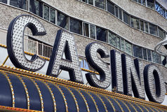 Neon Casino Sign. Colorful neon and lights advertising a casino. Shot on history Fremont Street Experience in Las Vegas Stock Photography