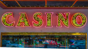 Neon casino sign. A large neon casino sign in Reno, Nevada stock photography