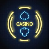 Vector neon casino poker card suit sign brick wall. Neon casino sign. Poker, blackjack card suits, spade club. Vintage retro Las Vegas, online casino, bar banner Stock Photos