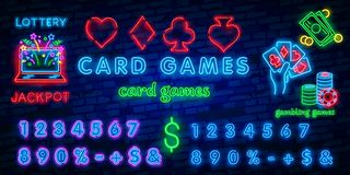Neon casino sign. Poker, blackjack card suits, spade diamond heart club. Vintage Las Vegas glowing singage banner. Advertising template design stock illustration