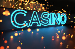 Neon Casino Sign. Board. Nightlife concept Stock Photo