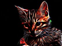 Neon cat on a black background Royalty Free Stock Photo