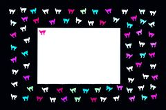 Neon cats on black background pattern royalty free stock image