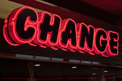 Neon Change sign Royalty Free Stock Photography