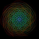 Neon chaotic interweaving lines. Abstract neon ball of yarn Stock Image
