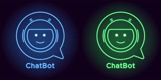 Neon Chat Bot in blue and green color. Vector illustration of virtual Chatbot with speech bubble consisting of neon outlines, with backlight on the dark vector illustration