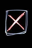 Neon checkbox. Flourescent checkbox with a red cross in it Stock Image