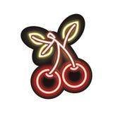Neon cherry icon Royalty Free Stock Photos