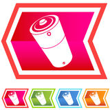 Neon Chevron Icon Set: Battery Stock Photography