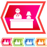Neon Chevron Icon Set: Person at Desk Royalty Free Stock Images
