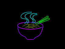 Neon Chinese Noodle Sign. Neon sign often found in the window of a restaurant Royalty Free Stock Photography