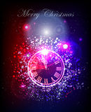 Neon Christmas background with clock. Stars effect merry Royalty Free Stock Photography