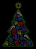Neon Christmas tree Stock Photography