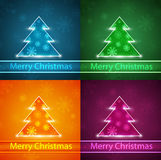 Neon Christmas tree Stock Images