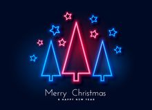 Free Neon Christmas Tree And Stars Background Stock Image - 133849391
