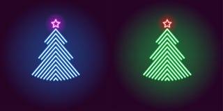 Free Neon Christmas Tree, Glowing Xmas Tree. Vector Stock Photography - 131917162
