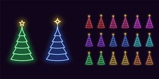 Free Neon Christmas Tree With Star, Festive Icon Decoration. Colorful Set Royalty Free Stock Photography - 157482407