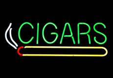 Neon Cigars Sign Stock Photo