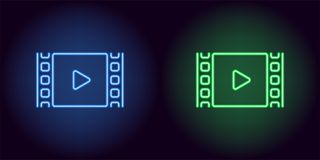 Neon cinema film in blue and green color. Vector illustration of cinema film with Play icon consisting of neon outlines, with backlight on the dark background Royalty Free Stock Photos