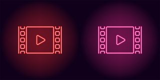 Neon cinema film in red and pink color. Vector illustration of cinema film with Play icon consisting of neon outlines, with backlight on the dark background Royalty Free Stock Photos