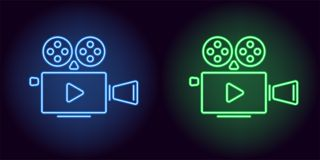 Neon cinema projector in blue and green color. Vector illustration of cinema projector with Play icon consisting of neon outlines, with backlight on the dark Stock Images