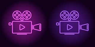 Neon cinema projector in purple and violet color. Vector illustration of cinema projector with Play icon consisting of neon outlines, with backlight on the Royalty Free Stock Photography