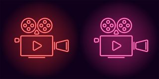 Neon cinema projector in red and pink color. Vector illustration of cinema projector with Play icon consisting of neon outlines, with backlight on the dark Stock Photo
