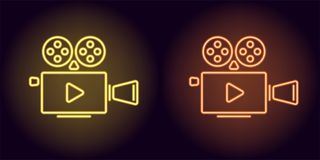 Neon cinema projector in yellow and orange color. Vector illustration of cinema projector with Play icon consisting of neon outlines, with backlight on the Royalty Free Stock Image