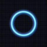 Neon circle on a dark background. Stock Photo
