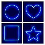Neon circle, heart, square and star on dark background. Vector realistic different shape blue neon frames. Neon circle, heart, square and star on dark royalty free illustration