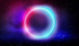 Neon circle, neon lights. Neon circle with the center of a dark empty scene with spotlights. Abstract light. Night view. royalty free illustration