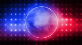 Neon circle, neon lights. Neon circle with spotlights. Abstract light. Night view. Blue abstract background with rays and lines royalty free illustration