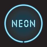 Neon circle with neon sign Stock Photo