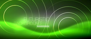 Neon circles abstract background, shiny lines. Vector techno design royalty free illustration