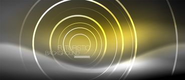 Neon circles abstract background, shiny lines. Vector techno design stock illustration