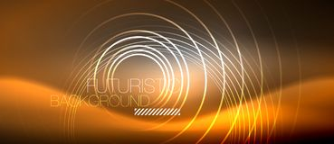 Neon circles abstract background, shiny lines. Vector techno design vector illustration